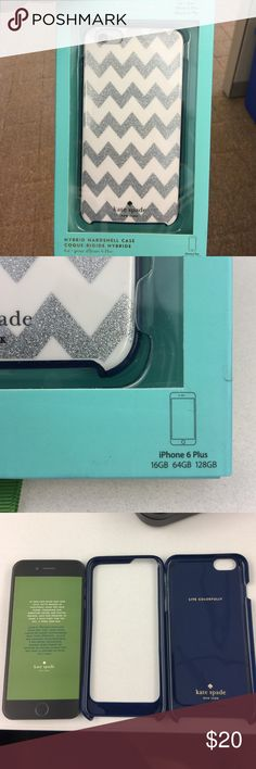 Kate Spade Glitter Chevron iPhone 6 Plus case Used for 1 week. Silver glitter chevron stripes on dark blue for iPhone 6plus. Very durable with bumper and hard case. kate spade Accessories Phone Cases