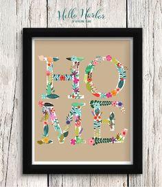 "HOME Print, Floral Lettering, Home Art, Wall Decor, Khaki, Tan, Kraft, Flowers, Colorful, Rustic, Botanical, 8x10"" or 11x14"""