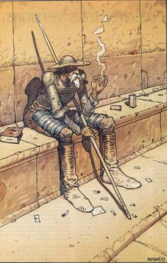 Don Quixote by Jean Giraud Moebius Jean Giraud, Comic Book Artists, Comic Artist, Comic Books Art, Alphonse Mucha, Fabio Moon, Calvin E Hobbes, Moebius Art, Dom Quixote