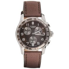Victorinox Swiss Army Stainless steel Chrono Brown Dial Automatic Wristwatch | From a unique collection of vintage wrist watches at https://www.1stdibs.com/jewelry/watches/wrist-watches/