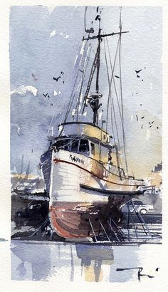 Thomas Schaller 's painting Watercolor Sketch, Watercolor Landscape, Watercolour Painting, Painting & Drawing, Watercolours, Watercolor Artists, Boat Art, Nautical Art, Amazing Art