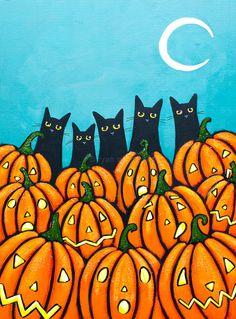 Black Cats and Pumpkins  Original Halloween Folk by KilkennycatArt