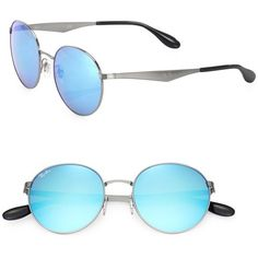 f104e24553 Ray-Ban 51MM Mirrored Round Metal Sunglasses (12