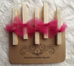 Shabby Clothespins with Pink Tulle Bows by SweetlyScrappedArt, $5.00
