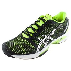 ASICS Mens Gel-Solution Speed 2 Tennis ShoeOnyxFlash YellowSilver8.5 D(M) US