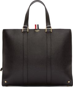 cb2a5eef1e3 Thom Browne Black Pebbled Leather Briefcase Leather Luggage, Leather  Briefcase, Leather Gifts, Leather