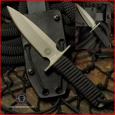 (Relentless Knives) Tactical Compact Dagger steel military survival knife. 4 inch blade