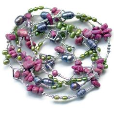 Extra Long Green Mauve Silver Multi Strand Wrap by ALFAdesigns, $89.99