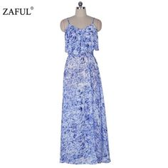 ZAFUL New Summer Women Bohemian splite hem Dress Sexy sleeveless V neck Print Blue Woman long Maxi Dresses Feminino