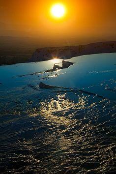 Sunset over Pamukkale, Turkey