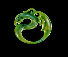Jade Dragon : hand crafted by Donn Salt Jade Dragon, Dragon Art, Le Jade, Polynesian Art, Chinese Patterns, Dragon Jewelry, Dragon Pendant, Polymer Clay Necklace, Jade Jewelry