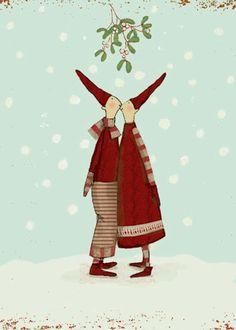 Kissing Pixies Under the Mistletoe ~ Maileg Christmas card Danish Christmas, Scandinavian Christmas, Christmas Pictures, Christmas Art, Christmas 2019, Winter Christmas, Vintage Christmas, Christmas Decorations, Xmas