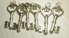 lot of 6 Silver Heart Keys Pendant Charms Vintage Antique Style 2 inch big #Unbranded #Pendant