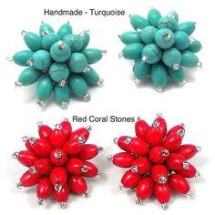Handmade Turquoise Chrysanthemum Blast Clip On Earrings (Thailand)