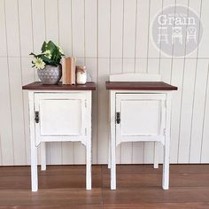 SOLD - With a little bit of chopping and changing I've finally created my pair of silky oak bedsides. Aren't they sweet? Painted in Old White with an oak stained top, the only difference between the two is the shape of the backing bit (for lack of a better word..) {$425}