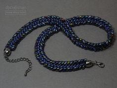 Beaded Edge Kumihimo Necklace, Navy Magatama Necklace, Navy Beaded Edge Necklace by dlpCraftsman on Etsy