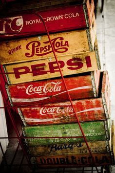 """Crates of Nostalgia"" (Cola / Pepsi.) by Visual Reserve: David Bean ( Vintage Glam, Art Vintage, Vintage Love, Vintage Antiques, Vintage Tools, Antique Toys, Nostalgia, Coca Cola Vintage, Pepsi Cola"