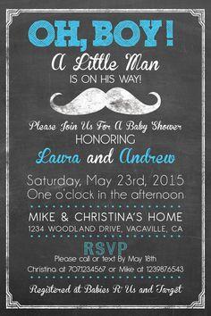 Little Man Mustache Shower Invitation Baby Boy by PuzzlePrints