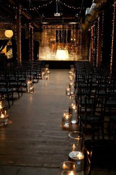 industrial wedding aisle decoration ideas with candle lights
