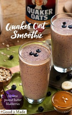 Quaker's Peanut Butter Banana Berry Oat Smoothie is easy to prepare and even better to enjoy. Morning, afternoon, or night, this smoothie has hearty oats and fruit to help give you the energy you want for your day.