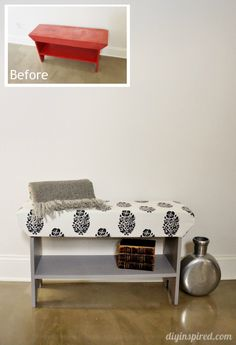 DIY Wood Upholstered Bench from $5 Garage Sale Find Before and After - Tutorial