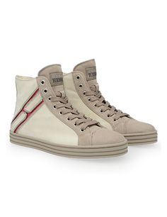 #HOGANREBEL Women's Spring - Summer 2013 #collection: suede High-Top #sneakers with zipped rows on the side revealing the red H logo.