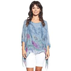 Silk blouse colour blue with scoop neck and floral pattern