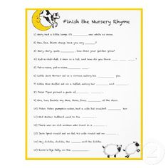 Baby Shower Game   Finish The Nursery Rhyme Flyer