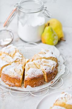 Delicious Italian pear and mascarpone cake. Moist, lightly sweet, subtle in flavour. Cookie Desserts, Cookie Recipes, Mascarpone Cake, Sweet Pastries, Polish Recipes, Polish Food, Cakes And More, Sweet Recipes, Food To Make