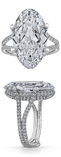 An Art Deco platinum and diamond ring, 1930s. Featuring an oval diamond weighing 9.83 carats. #ArtDeco #ring