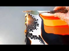 Abstract Painting - Orange cells - YouTube Flow Painting, Acrylic Painting Lessons, Pallet Painting, Pour Painting, Painting Tips, Orange Painting, Acrylic Pouring Techniques, Acrylic Pouring Art, Painting Techniques