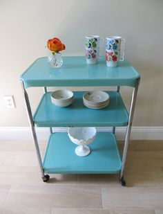 Vintage Mid Century Cosco Utility Cart Three Tier Rolling Metal Serving Cart, Chrome, Enamel - Aqua Turquoise Blue - Retro Cart