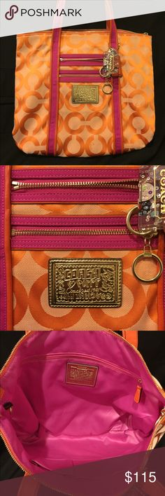 Authentic Orange & hot pink poppy coach bag Orange and hot pink poppy tote bag. Used a few times, but the bag was to large for me. Very bright and playful. Great condition. No trades please. Happy Shopping 😄 Coach Bags Totes