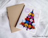 """Carte double pour Noël faite main """"Sapin multi fleurs"""" 10.5x15cm : Cartes par celinephotosartnature"""