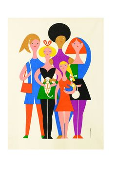 Girls, Environmental Enrichment Panel # Alexander Girard for Herman Miller, cotton, x cm © Vitra Design Museum. Alexander Girard, Vitra Design Museum, George Nelson, Character Illustration, Graphic Illustration, People Illustration, Herman Miller, Illustrations Vintage, Indianapolis Museum