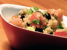 Black bean and tomato quinoa - add some skirt steak and we're good to go