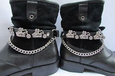 Biker Men Western Women Boot Silver Chain Pair Leather Motorcycle Boot Accessory