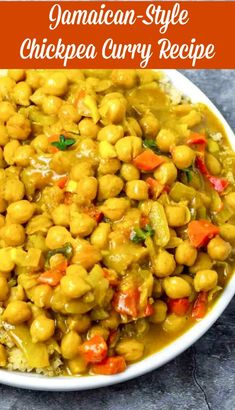 Delicious and flavorful Jamaican-Style Chickpea Curry full of bold flavors like thyme Scotch Bonnet pepper and allspice berries in creamy coconut milk. Vegan Chickpea Curry, Chickpea Recipes, Veggie Recipes, Indian Food Recipes, Vegetarian Recipes, Dinner Recipes, Cooking Recipes, Healthy Recipes, Veg Curry