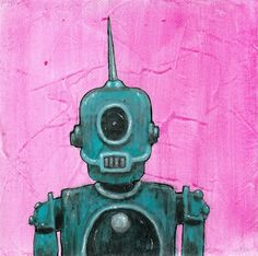 Spikebot, retro robot painting.