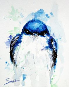 Blue bird art original watercolor painting animal painting by SignedSweet on Etsy