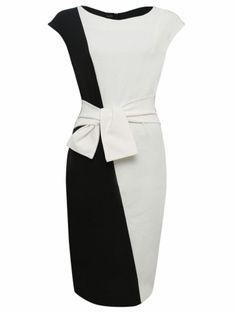 kup Women's Bodycon Dress Color Block OL Style O Neck Black Dress & Sukienki - w Jollychic