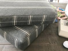 How to Sew Perfect Fit Box Cushion Covers | House by the Bay Design Patio Cushion Covers, Custom Cushion Covers, Custom Cushions, Box Cushion, Making Cushion Covers, Cushion Cover Designs, Camper Cushions, Patio Cushions, Cushions On Sofa