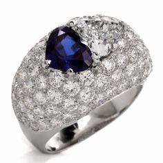Estate Heart Diamond Sapphire Platinum Cluster Dome Ring Item # 241804 - 620701