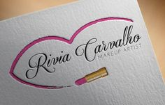 Logo I made for Makeup artist Rivia Carvalho. Contact me so i can make a beautiful logo for you. femenine, unique, pretty, girly