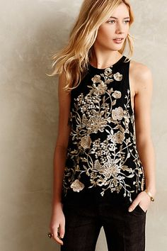 Golden Flowervine Tank - anthropologie.com