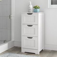 Dotted Line™ Greg W x H x D Free-Standing Bathroom Cabinet Bathroom Corner Cabinet, Bathroom Standing Cabinet, Free Standing Cabinets, Bathroom Cabinets, Bathroom Storage, Bathroom Ideas, Linen Cabinet, Cabinet Decor, Storage Cabinets
