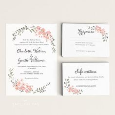 Printable Wedding Invitation Printable Floral Wedding by PaperTen