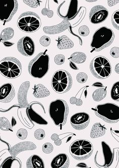 Fruit salad black and white pattern.