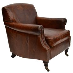 Cigar Rupert Hand Aged Leather Armchair - The Cigar Room - Temple & Webster presents