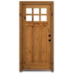 Steves & Sons Craftsman 6 Lite Stained Knotty Alder Wood Entry Door with Dentil Shelf-CB3306KKJLI at The Home Depot